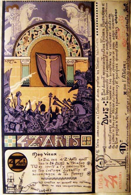 Invitation pour le Bal des Quat'Z'Arts. Oeuvre d'Henri Jules Ferdinand Bellery-Desfontaines