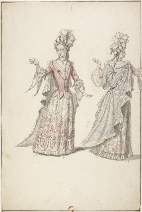 Costume de deux Égyptiennes, attribué à Jean Bérain, n. d., maquette de costume, BnF.